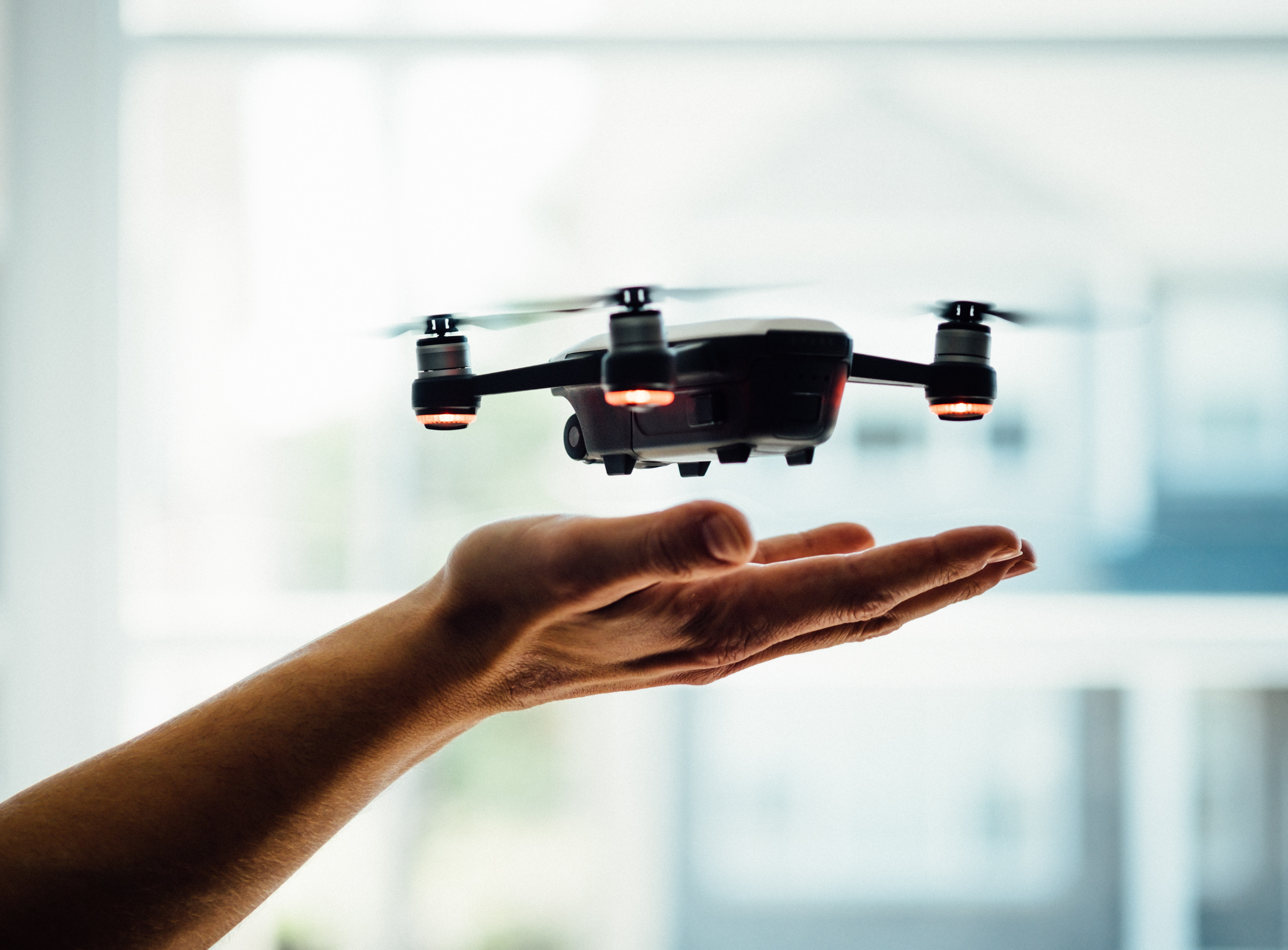 digital transformation and strategy - drone over a hand