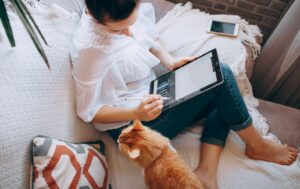 Lady working on sofa with cat